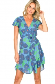 Genesis |  Floral wrap dress Aiko | blue  | Picture 4