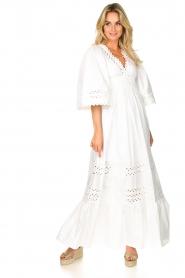 Antik Batik |  Popline maxi dress Malia | white  | Picture 2