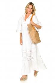 Antik Batik |  Popline maxi dress Malia | white  | Picture 3