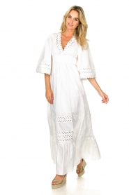 Antik Batik |  Popline maxi dress Malia | white  | Picture 4