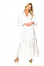 Antik Batik |  Popline maxi dress Malia | white  | Picture 5
