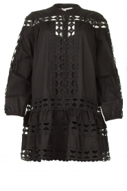Devotion |  Cotton dress with embroidery details Christina | black  | Picture 1