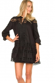 Devotion |  Cotton dress with embroidery details Christina | black  | Picture 4