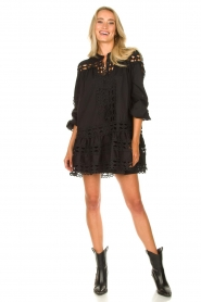 Devotion |  Cotton dress with embroidery details Christina | black  | Picture 3