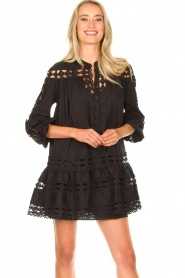 Devotion |  Cotton dress with embroidery details Christina | black  | Picture 5