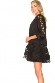 Devotion |  Cotton dress with embroidery details Christina | black  | Picture 6