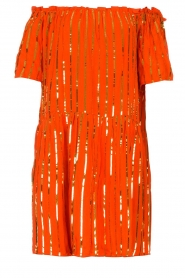 Sundress | Off-shoulder jurk met pailletten Bella | oranje  | Afbeelding 1