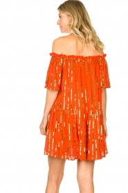 Sundress | Off-shoulder jurk met pailletten Bella | oranje  | Afbeelding 5