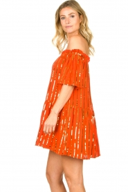 Sundress | Off-shoulder jurk met pailletten Bella | oranje  | Afbeelding 4