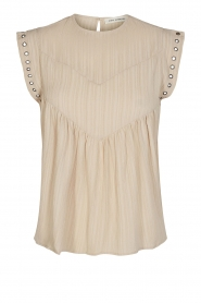 Sofie Schnoor |  Top with crêpe effect Fredericke | beige  | Picture 1