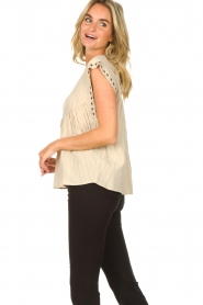 Sofie Schnoor |  Top with crêpe effect Fredericke | beige  | Picture 7