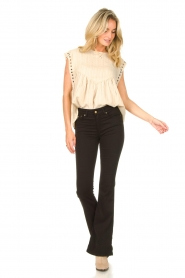 Sofie Schnoor |  Top with crêpe effect Fredericke | beige  | Picture 3