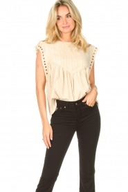 Sofie Schnoor |  Top with crêpe effect Fredericke | beige  | Picture 2