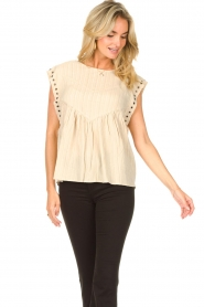 Sofie Schnoor |  Top with crêpe effect Fredericke | beige  | Picture 5