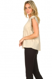 Sofie Schnoor |  Top with crêpe effect Fredericke | beige  | Picture 6