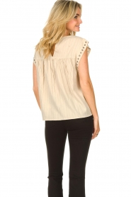 Sofie Schnoor |  Top with crêpe effect Fredericke | beige  | Picture 8