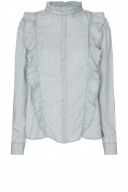 Sofie Schnoor |  Blouse with ruffles Silke | blue  | Picture 1