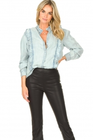 Sofie Schnoor |  Blouse with ruffles Silke | blue  | Picture 2