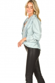 Sofie Schnoor |  Blouse with ruffles Silke | blue  | Picture 6