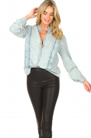 Sofie Schnoor |  Blouse with ruffles Silke | blue  | Picture 5