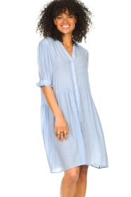 Sofie Schnoor |  See-through dress Valeria | blue  | Picture 6