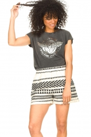 Sofie Schnoor |  Cotton shorts with aztec print Louie | black   | Picture 4