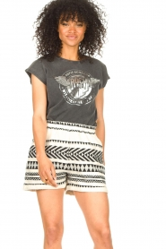 Sofie Schnoor |  Cotton shorts with aztec print Louie | black   | Picture 2