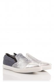 Leren slip-on Georgie | zilver-denim