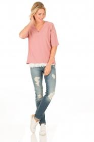 Dante 6 | Zijden top Gemeaux | roze   | Afbeelding 3