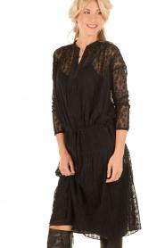 Hoss Intropia | Zijden jurk Rose | zwart   | Afbeelding 2