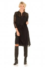 Hoss Intropia | Zijden jurk Rose | zwart   | Afbeelding 3