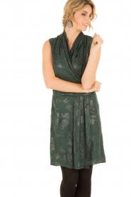Munthe | Zijden jurk Glina | donkergroen  | Afbeelding 2