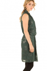 Munthe | Zijden jurk Glina | donkergroen  | Afbeelding 4