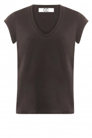 CC Heart |  Cotton mix v-neck t-shirt Vera | black