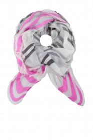 BVL | Sjaal Stripe | grijs en roze   | Afbeelding 1