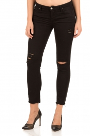 Current/Elliott | Cropped skinny ripped jean The Stiletto | zwart  | Afbeelding 2