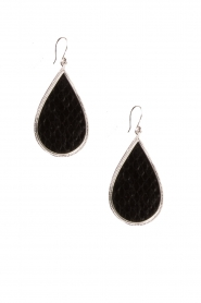 Silver with leather earrings Little Tears Of Joy | black