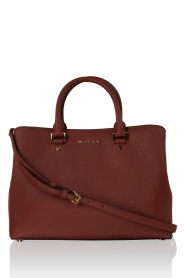 Leren schoudertas Satchel Savannah | brick red