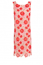 Patrizia Pepe | Kanten jurk Floral | rood & roze   | Afbeelding 1