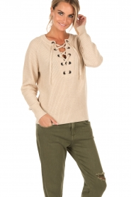 Knitted lace-up sweater Liz | natural
