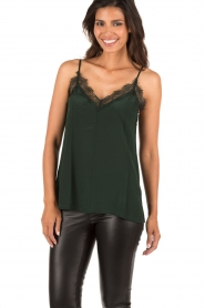 Silk top with lace Leila | green