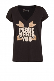 T-shirt Peace | zwart