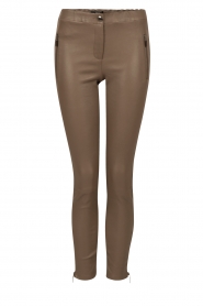 Lamb leather pants Cadiz Stretch Plonge | taupe