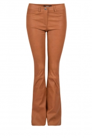 Flared lamb leather pants Millau | brown