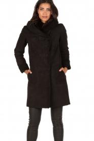 Arma | Suède lammy coat Aurille | zwart  | Afbeelding 2