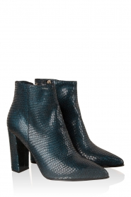 Leather ankle boots Norva | blue with print