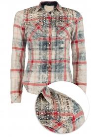 Dishe Jeans | Geruite studded blouse Rhiana | rood en blauw   | Afbeelding 1