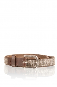 Leren riem Beaded | grey