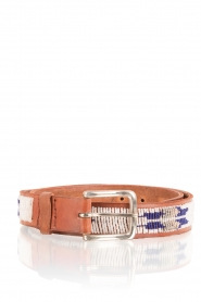 Aspiga | Leren riem Fether | zilver en blauw | leather belt Feather | zil  | Afbeelding 1
