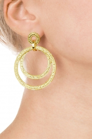 Close to Zen | 22kt vergulden oorbellen Circle of Hapiness | goud  | Afbeelding 3